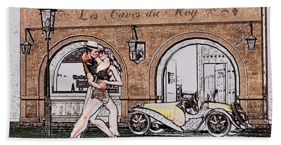 Tango Bath Sheet featuring the digital art Tango Dancers In The Street by John Junek
