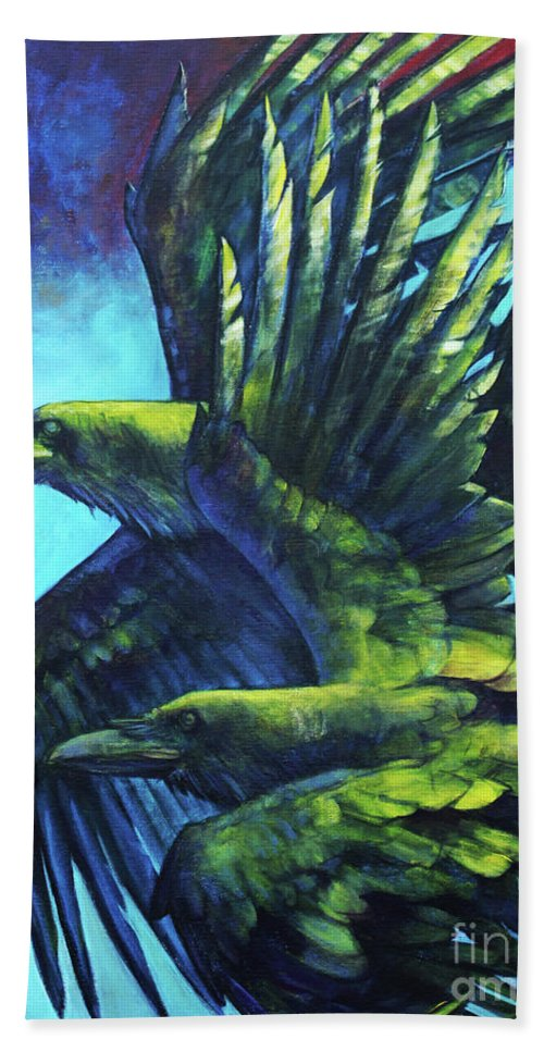 Raven Hand Towel featuring the painting Tango by Joseph Rizzo