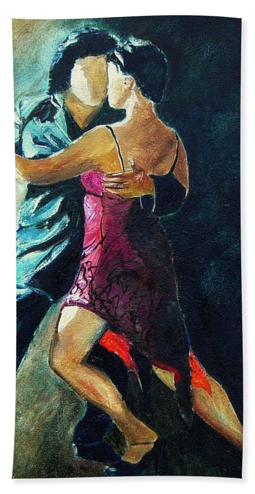 Tango Hand Towel featuring the painting Tango by Pol Ledent