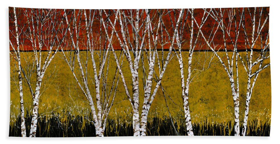 Birches Bath Sheet featuring the painting Tante Betulle by Guido Borelli