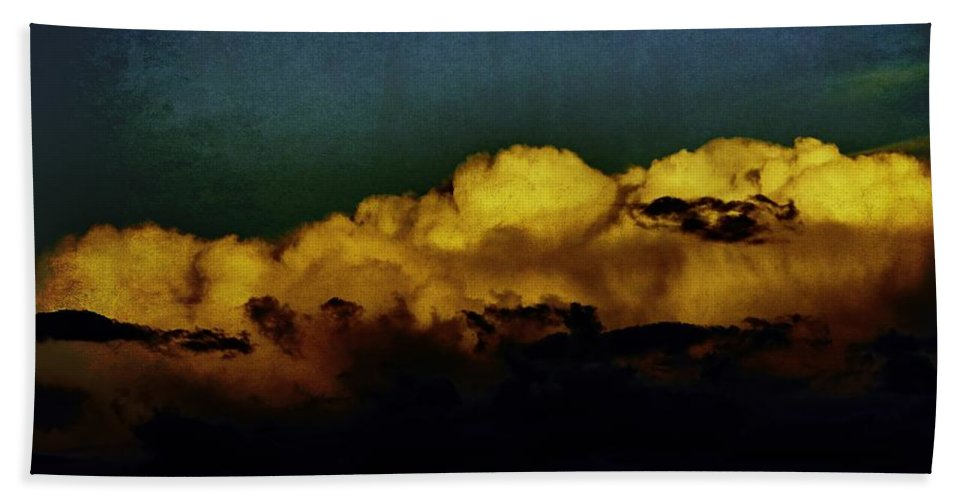 Taos Bath Sheet featuring the mixed media Taos Clouds by Charles Muhle