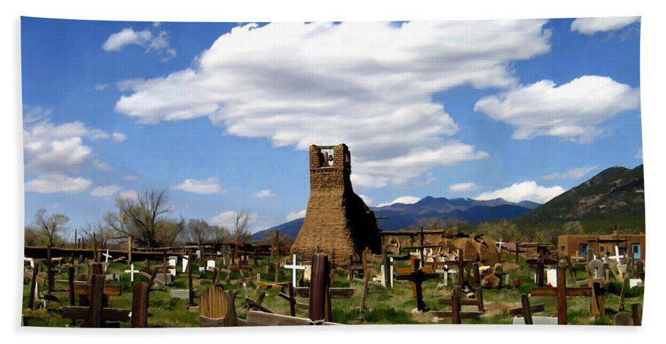 Taos Bath Sheet featuring the photograph Taos Pueblo Cemetery by Kurt Van Wagner
