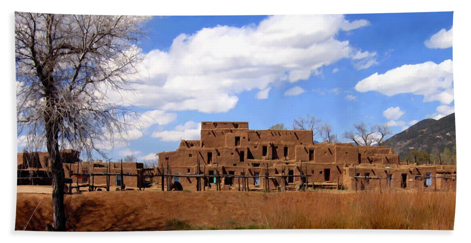 Taos Hand Towel featuring the photograph Taos Pueblo Early Spring by Kurt Van Wagner