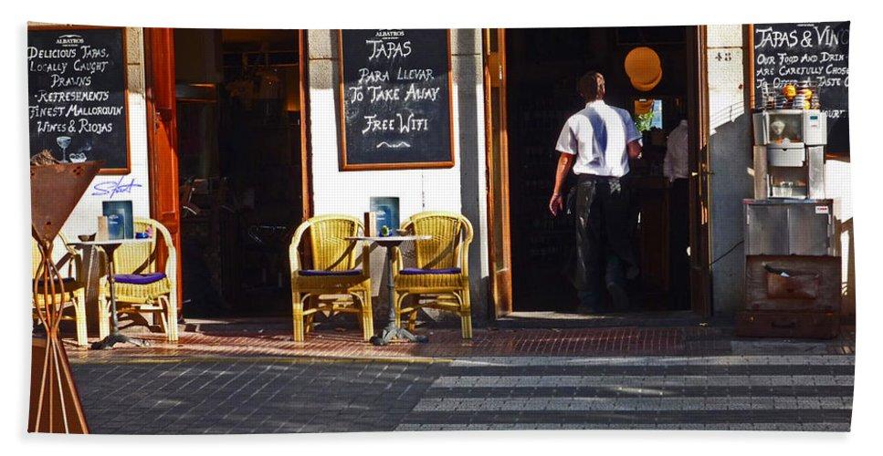 Port De Soller Hand Towel featuring the photograph Tapas Bar by Charles Stuart