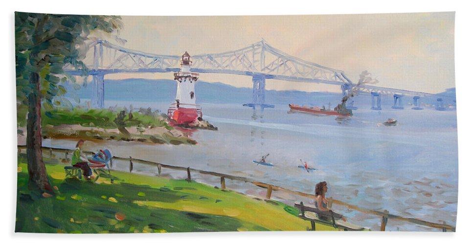 Tappan Zee Bridge And Light House Hand Towel featuring the painting Tappan Zee Bridge And Light House by Ylli Haruni