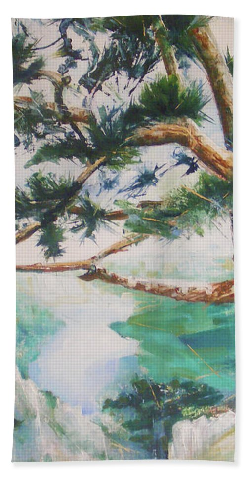 Oil Hand Towel featuring the painting Tara by Jovica Kostic