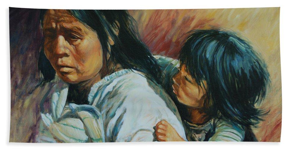 Woman Bath Towel featuring the painting Tarascan Woman by Rick Nederlof