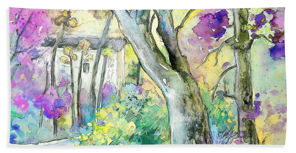 Tarbes Bath Sheet featuring the painting Tarbes 01 by Miki De Goodaboom