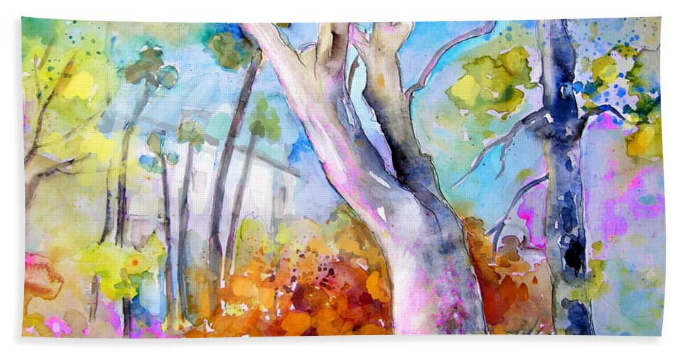 Tarbes Bath Sheet featuring the painting Tarbes 02 by Miki De Goodaboom