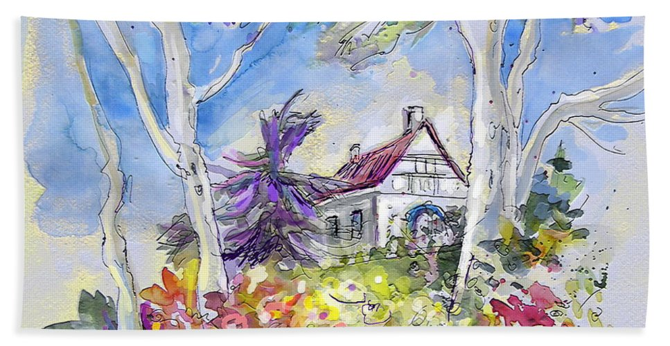 Tarbes Bath Sheet featuring the painting Tarbes 05 by Miki De Goodaboom