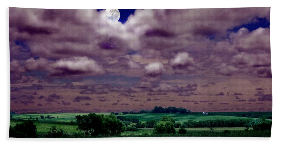 Landscape Bath Sheet featuring the photograph Tarkio Moon by Steve Karol