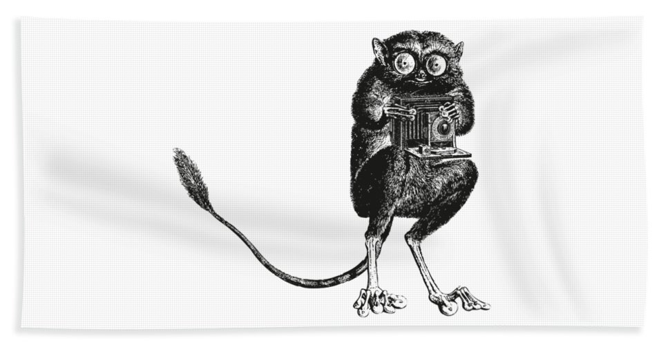 Tarsier Bath Sheet featuring the digital art Tarsier With Vintage Camera by Eclectic at HeART