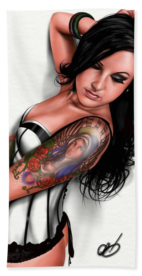 Pete Bath Sheet featuring the painting Tasha by Pete Tapang