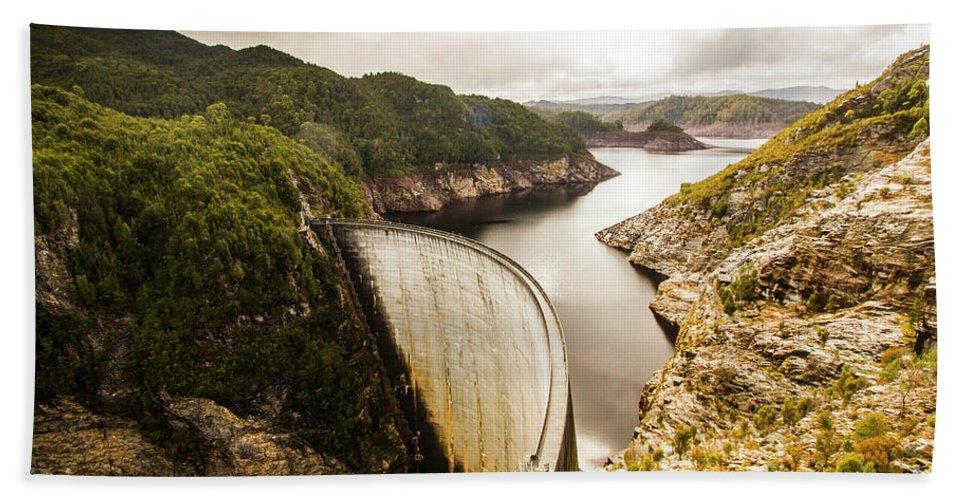 Dam Hand Towel featuring the photograph Tasmania Hydropower Dam by Jorgo Photography - Wall Art Gallery