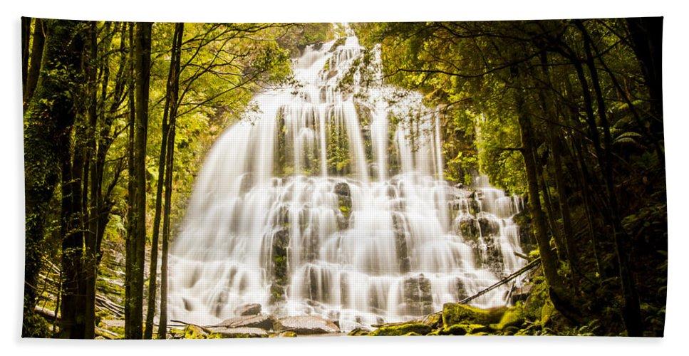 Tasmania Hand Towel featuring the photograph Tasmanian Waterfalls by Jorgo Photography - Wall Art Gallery