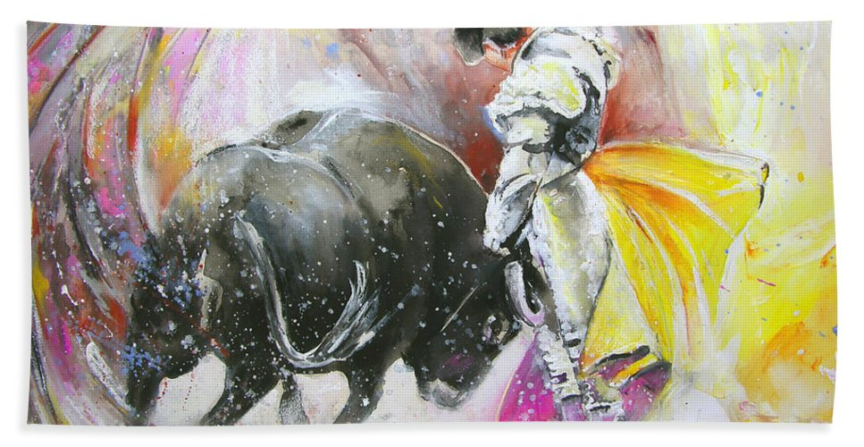 Animals Bath Towel featuring the painting Taurean Power by Miki De Goodaboom