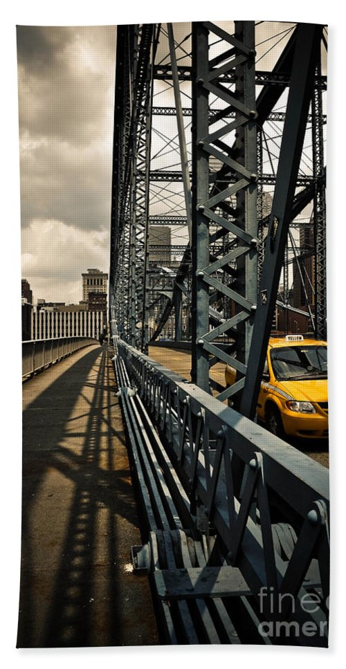 Allegheny County Hand Towel featuring the photograph Taxi Crossing Smithfield Street Bridge Pittsburgh Pennsylvania by Amy Cicconi
