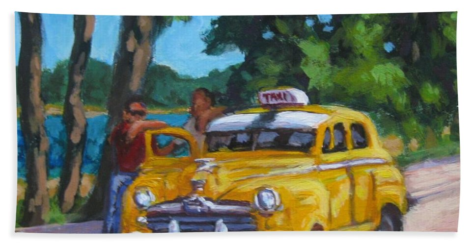 Old Cars Hand Towel featuring the painting Taxi Y Amigos by John Malone