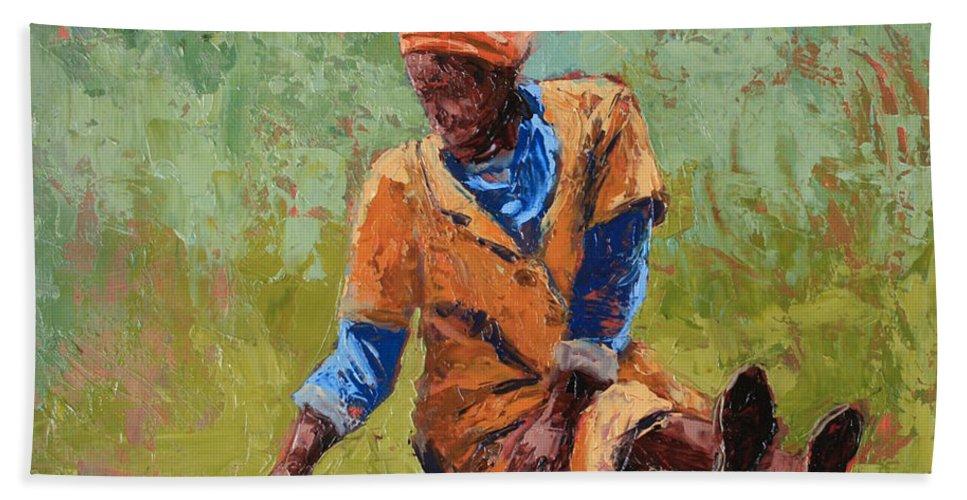 Figures Bath Sheet featuring the painting Tea Break by Yvonne Ankerman