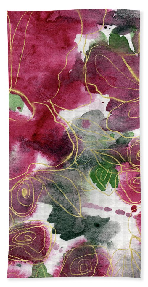 Roses Hand Towel featuring the mixed media Tea Cup Roses- Art By Linda Woods by Linda Woods