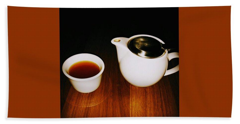 Tea Lovers Bath Towel featuring the pyrography Tea-juana by Albab Ahmed