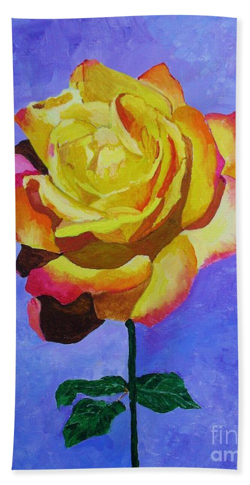 tea Rose Hand Towel featuring the painting Tea Rose by Rodney Campbell