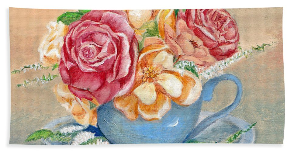 Still Life Hand Towel featuring the painting Tea Roses by Portraits By NC