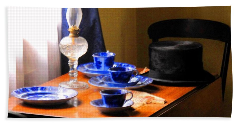 Plate Bath Towel featuring the photograph Tea Time Composition by Ian MacDonald