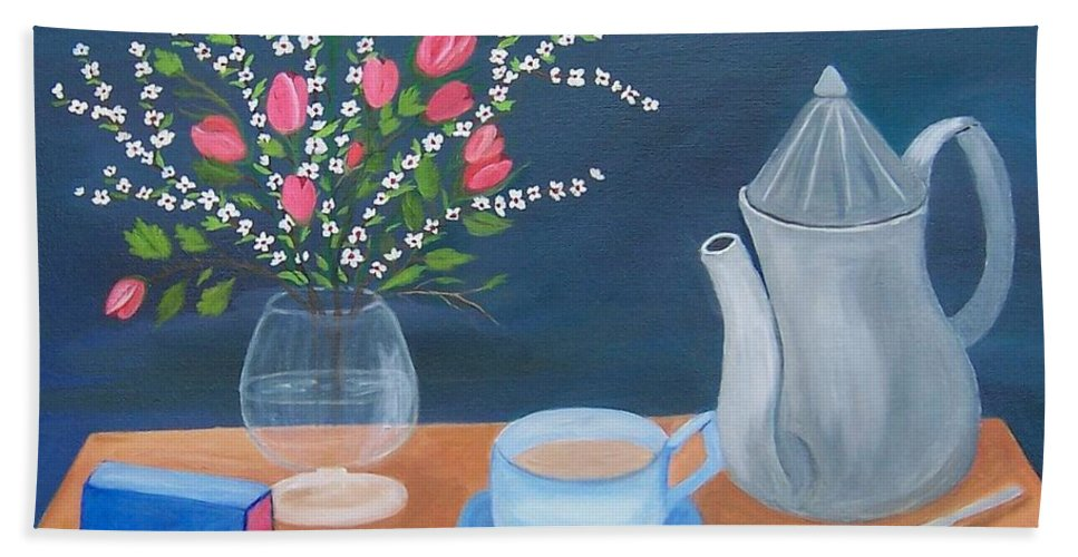 Still Life Hand Towel featuring the painting Tea Time by Ruth Housley