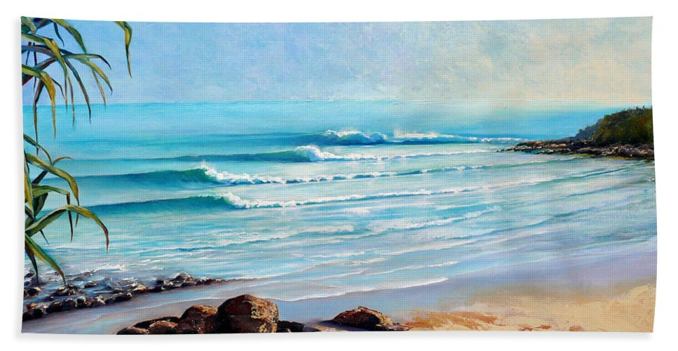 Surf Beach Hand Towel featuring the painting Tea Tree Bay Noosa Heads Australia by Chris Hobel