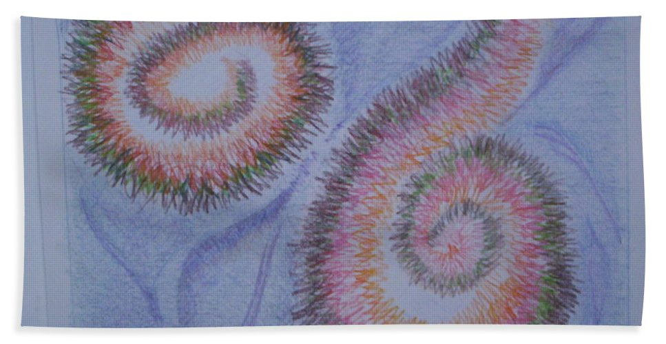 Abstract Bath Sheet featuring the drawing Teach Me by Suzanne Udell Levinger