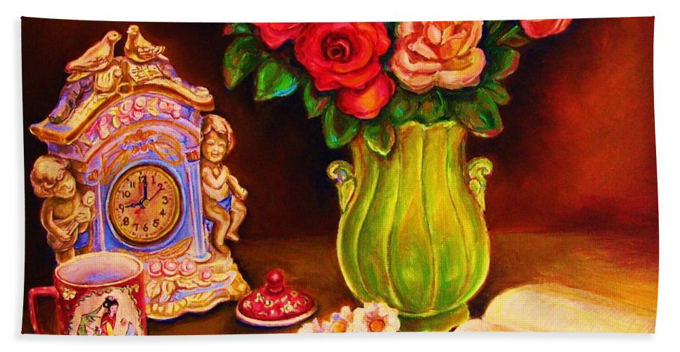 Impressionism Hand Towel featuring the painting Teacup And Roses by Carole Spandau