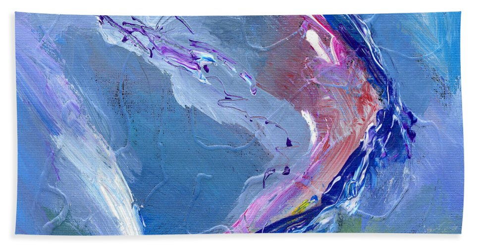Abstract Hand Towel featuring the painting Teahupoo by Dominic Piperata