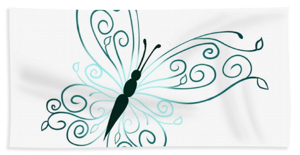 Hand Towel featuring the digital art Teal Butterfly by Deja Savage