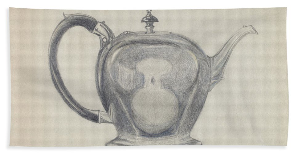 Hand Towel featuring the drawing Teapot by John Garay