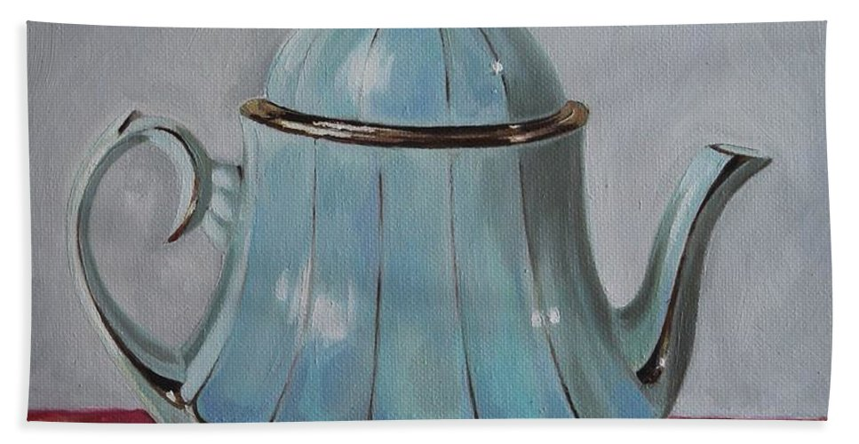 Teapot Hand Towel featuring the painting Teapot by Rebecca Tecla