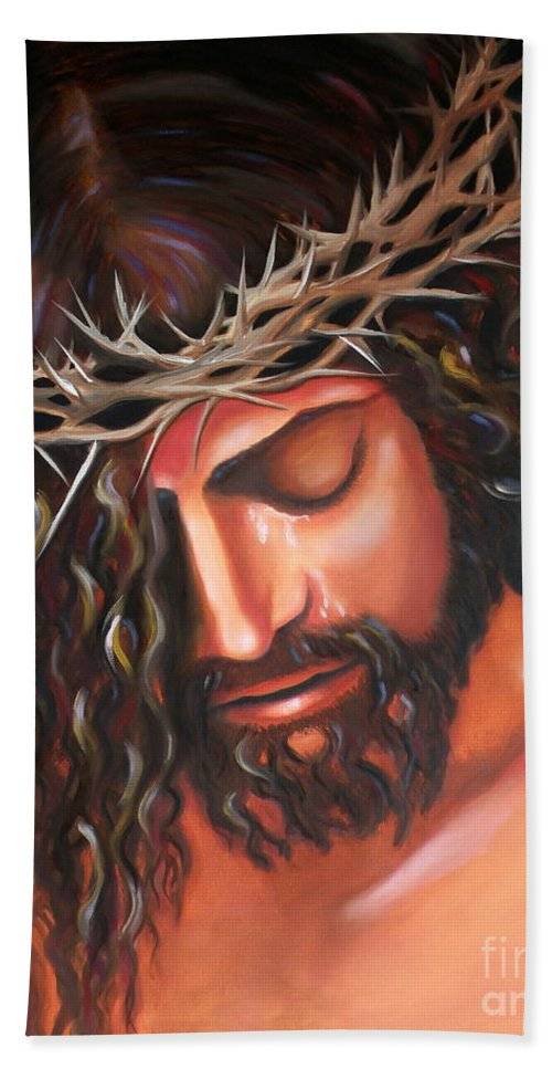 Crown Of Thorns Bath Sheet featuring the painting Tears From The Crown Of Thorns by Lora Duguay