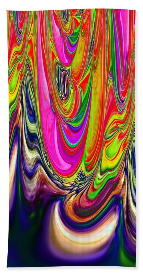 Technicolor Bath Sheet featuring the digital art Technicolor Magma by Tim Allen