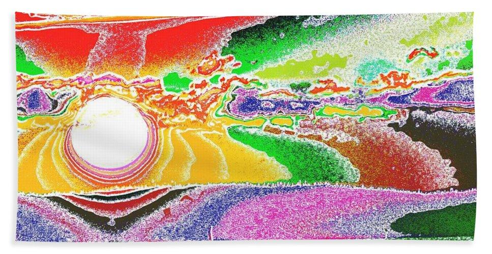 Sunset Bath Sheet featuring the digital art Technicolor Sunset by Tim Allen