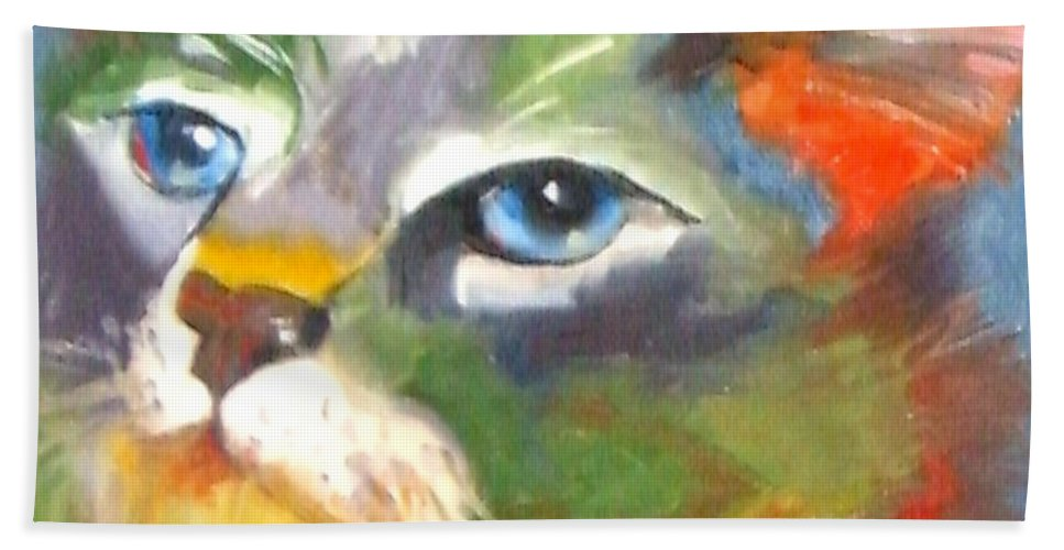 Cat Hand Towel featuring the painting Technicolor Tabby by Susan A Becker