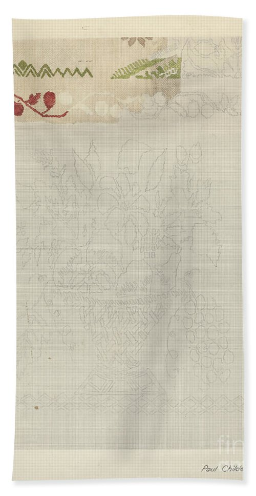 Hand Towel featuring the drawing Technique Demo (jacquard Coverlet) by William Paul Childers