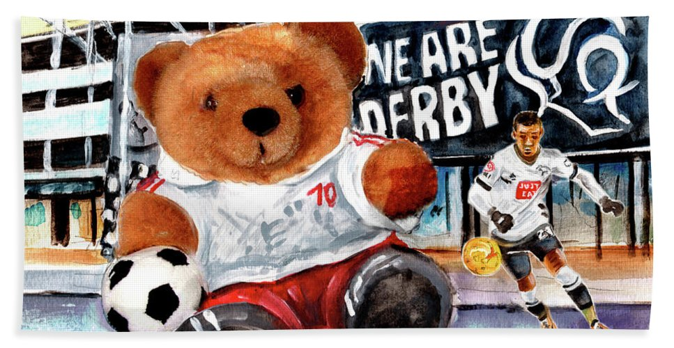 Truffle Mcfurry Bath Sheet featuring the painting Teddy Bear Ince by Miki De Goodaboom