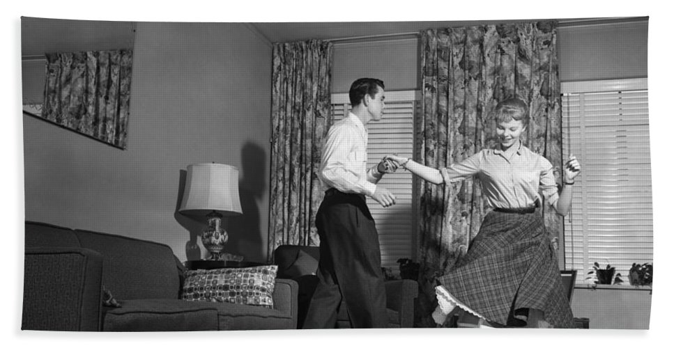 1950s Bath Sheet featuring the photograph Teen Couple Dancing At Home, C.1950s by Debrocke/ClassicStock