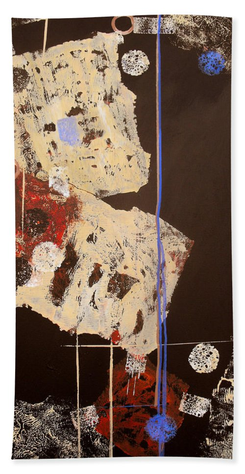 Abstract Bath Sheet featuring the painting Teeter by Ruth Palmer