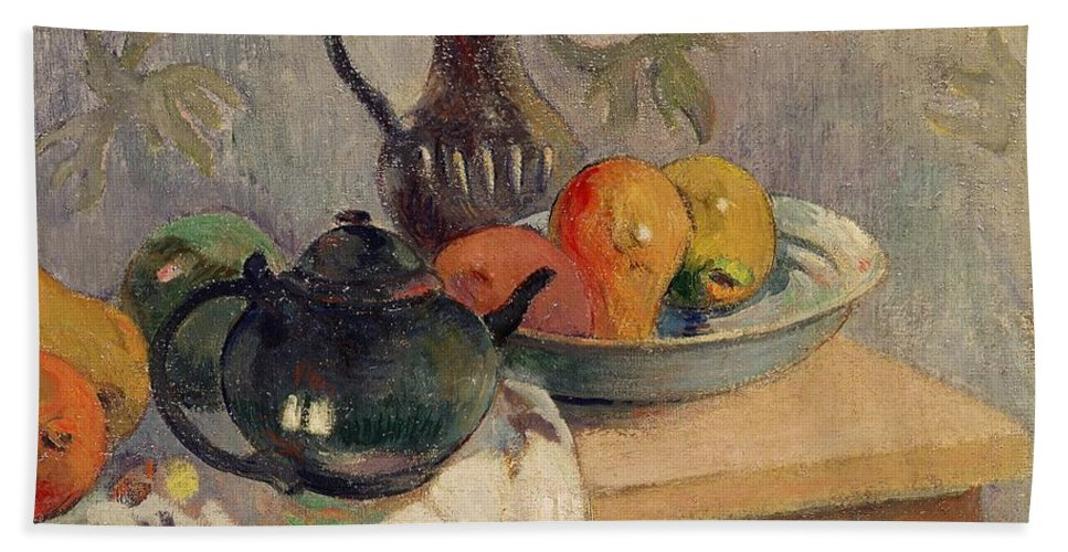 Teiera Hand Towel featuring the painting Teiera Brocca E Frutta by Paul Gauguin