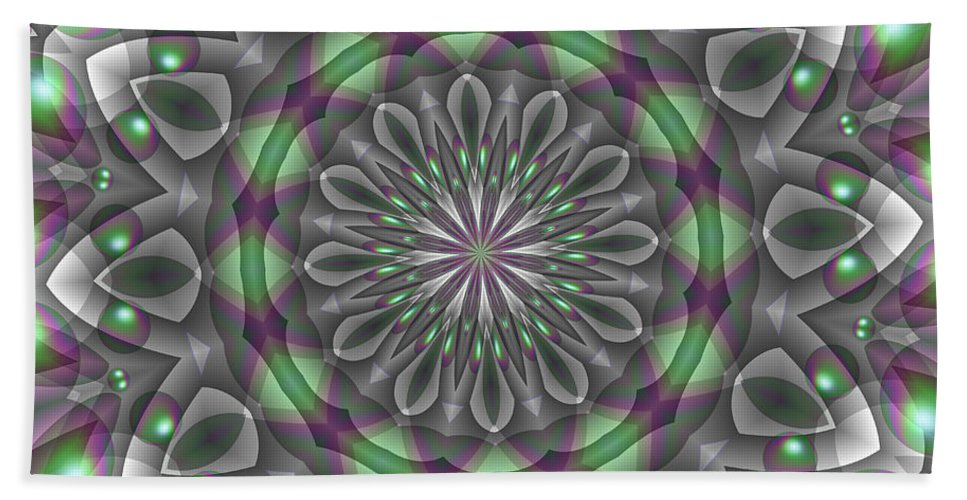 Abstract Bath Sheet featuring the digital art Teleport by Michelle McPhillips