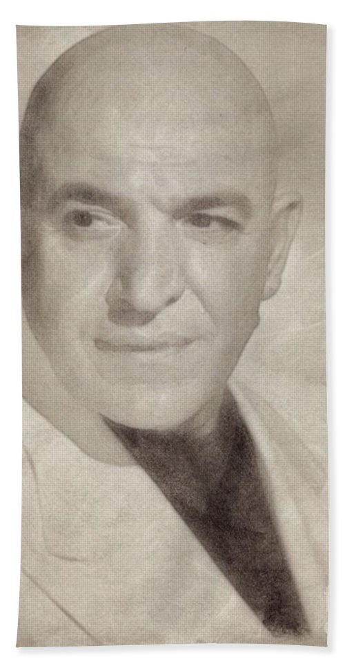 Hollywood Bath Sheet featuring the drawing Telly Savalas, Actor - Kojak by John Springfield