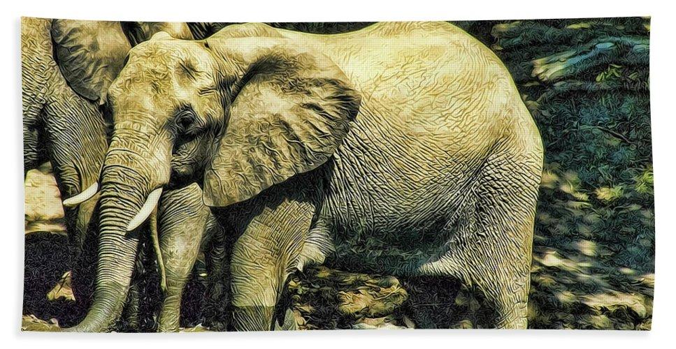Elephants Hand Towel featuring the photograph Tembo by Douglas Barnard