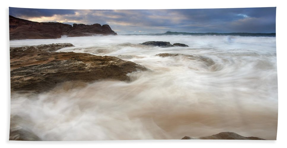 Bowl Hand Towel featuring the photograph Tempestuous Sea by Mike Dawson