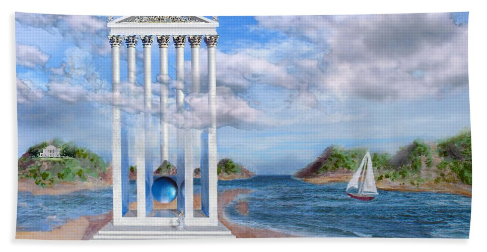 Landscape Bath Towel featuring the painting Temple For No One by Steve Karol